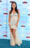 TV personality Jenni 'JWoww' Farley arrives at the 2013 Teen Choice Awards at Gibson Amphitheatre on August 11 2013 in Universal City California
