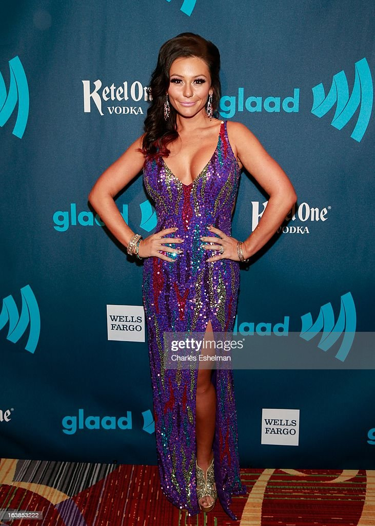 TV personality Jenni 'JWoww' Farley attends the 24th annual GLAAD Media awards at The New York Marriott Marquis on March 16, 2013 in New York City.