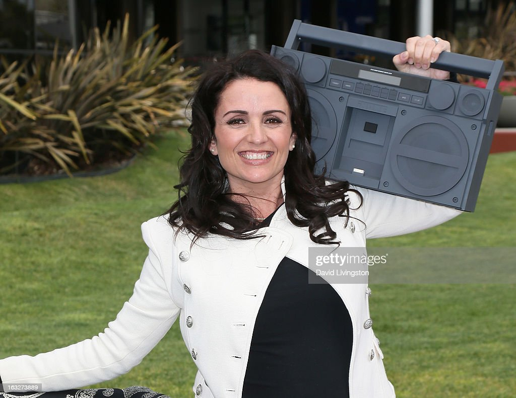 TV personality Jenni Pulos poses at the launch of House Beautiful Magazine's 'Chair Chase' on March 6, 2013 in Hollywood, California.