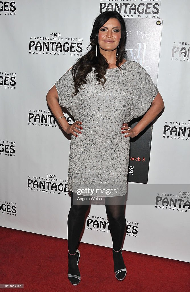 TV personality Jennifer Gimenez arrives at the opening night of 'Jekyll & Hyde' held at the Pantages Theatre on February 12, 2013 in Hollywood, California.