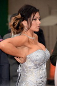TV personality Jennifer 'JWoww' Farley arrives at the 2013 MTV Movie Awards at Sony Pictures Studios on April 14 2013 in Culver City California