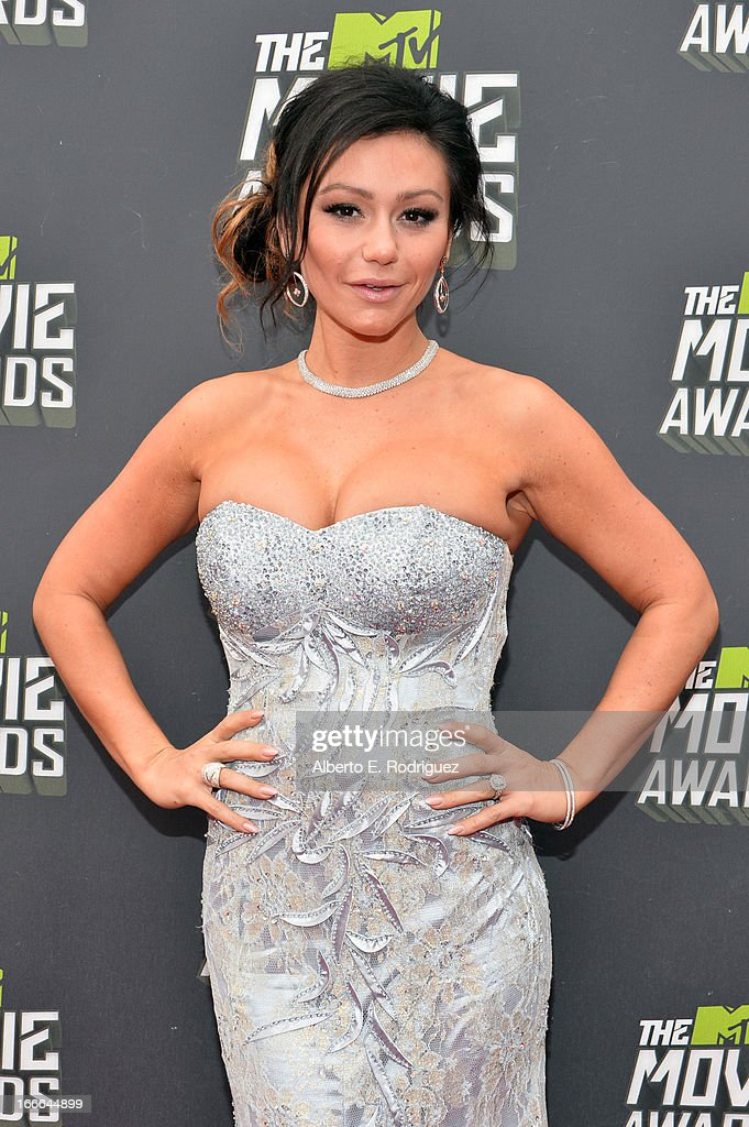 TV personality Jennifer 'JWoww' Farley arrives at the 2013 MTV Movie Awards at Sony Pictures Studios on April 14, 2013 in Culver City, California.