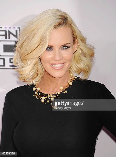 TV personality Jenny McCarthy arrives at the 2014 American Music Awards at Nokia Theatre LA Live on November 23 2014 in Los Angeles California