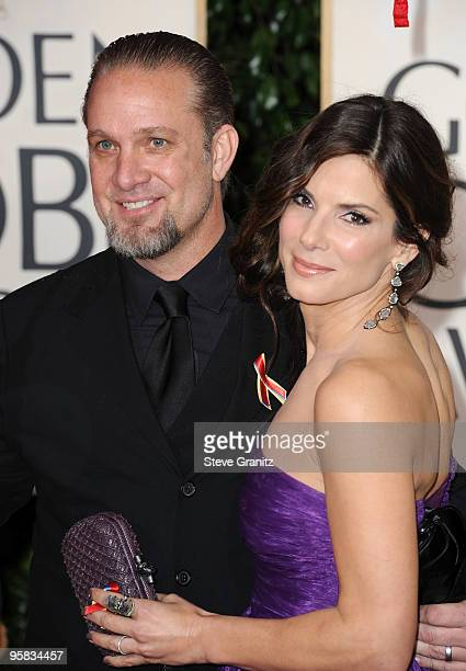 TV personality Jesse James and wife actress Sandra Bullock arrive at the 67th Annual Golden Globe Awards at The Beverly Hilton Hotel on January 17...