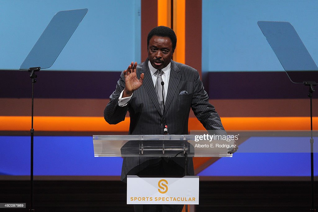 TV personality Jim Hill on stage at the 2014 Sports Spectacular Gala at the Hyatt Regency Century Plaza on May 18 2014 in Century City California