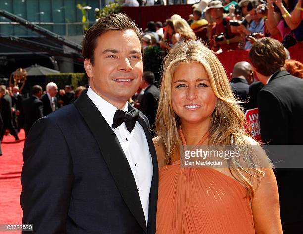 TV personality Jimmy Fallon and Nancy Juvonen attend the 62nd Annual Primetime Emmy Awards at Nokia Theatre Live LA on August 29 2010 in Los Angeles...