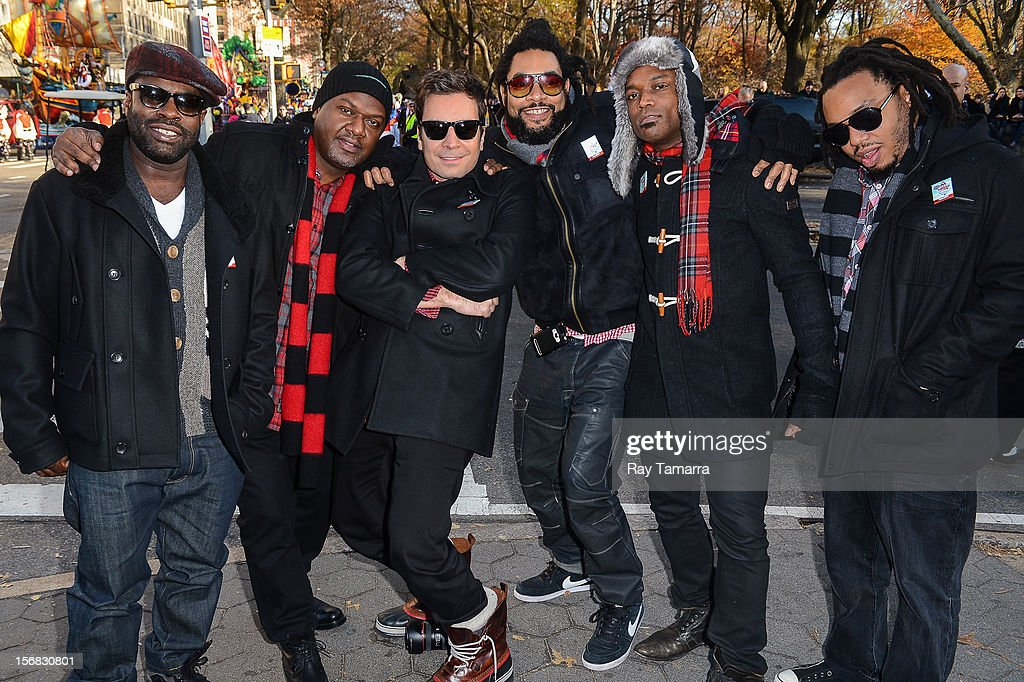 TV personality Jimmy Fallon (C) and the Roots attend the 86th Annual Macy's Thanksgiving Day Parade on November 22, 2012 in New York City.