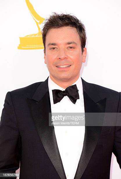 TV personality Jimmy Fallon arrives at the 64th Primetime Emmy Awards at Nokia Theatre LA Live on September 23 2012 in Los Angeles California