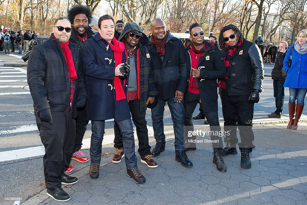 TV personality Jimmy Fallon with musicians Kamal Gray, <a gi-track='captionPersonalityLinkClicked' href=/galleries/search?phrase=Questlove&family=editorial&specificpeople=537550 ng-click='$event.stopPropagation()'>Questlove</a>, Black Though, <a gi-track='captionPersonalityLinkClicked' href=/galleries/search?phrase=Damon+Bryson&family=editorial&specificpeople=5314570 ng-click='$event.stopPropagation()'>Damon Bryson</a> 'Tuba Gooding Jr', Captain <a gi-track='captionPersonalityLinkClicked' href=/galleries/search?phrase=Kirk+Douglas+-+Musician&family=editorial&specificpeople=4271381 ng-click='$event.stopPropagation()'>Kirk Douglas</a> and <a gi-track='captionPersonalityLinkClicked' href=/galleries/search?phrase=F.+Knuckles+-+The+Roots&family=editorial&specificpeople=12673075 ng-click='$event.stopPropagation()'>F. Knuckles</a> of <a gi-track='captionPersonalityLinkClicked' href=/galleries/search?phrase=The+Roots+-+Band&family=editorial&specificpeople=234784 ng-click='$event.stopPropagation()'>The Roots</a> attend the 87th annual Macy's Thanksgiving Day parade on November 28, 2013 in New York City.