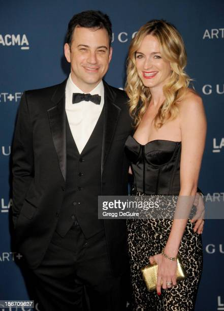 TV personality Jimmy Kimmel and wife Molly McNearney arrive at the LACMA 2013 Art Film Gala at LACMA on November 2 2013 in Los Angeles California