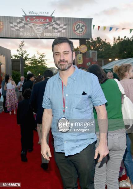 """TV personality Jimmy Kimmel poses at the after party for the World Premiere of Disney/Pixar's """"Cars 3"""" at Cars Land at Disney California Adventure in..."""