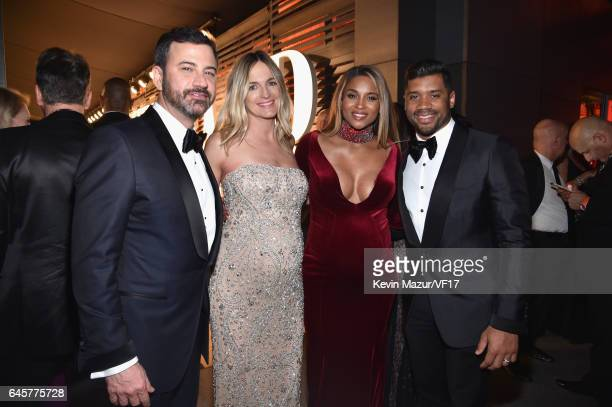 TV personality Jimmy Kimmel screenwriter Molly McNearney singer Ciara and NFL player Russell Wilson attend the 2017 Vanity Fair Oscar Party hosted by...