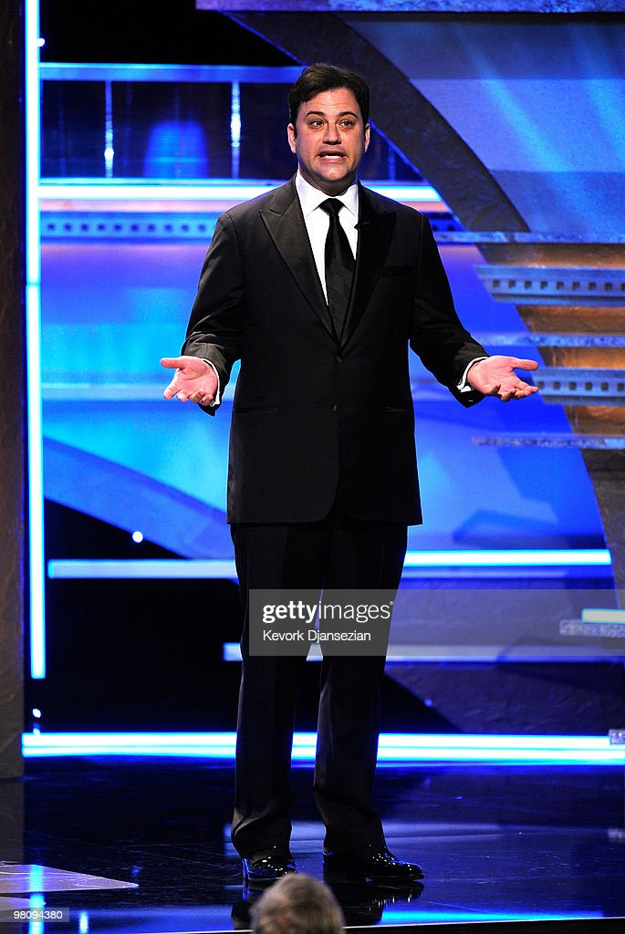 TV personality <a gi-track='captionPersonalityLinkClicked' href=/galleries/search?phrase=Jimmy+Kimmel&family=editorial&specificpeople=214115 ng-click='$event.stopPropagation()'>Jimmy Kimmel</a> speaks onstage during American Cinematheque 24th Annual Award Presentation To Matt Damon at The Beverly Hilton hotel on March 27, 2010 in Beverly Hills, California.