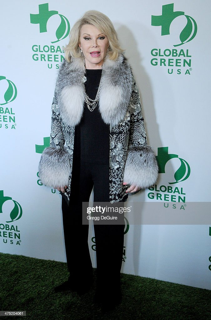 TV personality <a gi-track='captionPersonalityLinkClicked' href=/galleries/search?phrase=Joan+Rivers&family=editorial&specificpeople=159403 ng-click='$event.stopPropagation()'>Joan Rivers</a> arrives at the Global Green USA's 11th Annual Pre-Oscar Party at Avalon on February 26, 2014 in Hollywood, California.