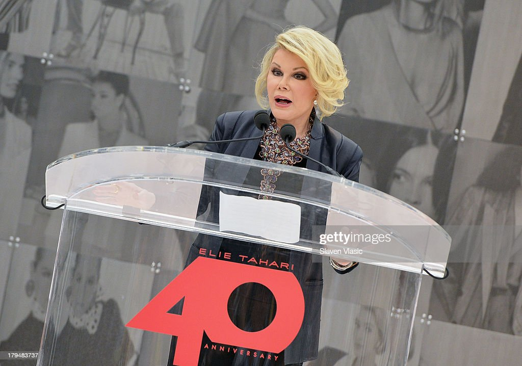 TV personality <a gi-track='captionPersonalityLinkClicked' href=/galleries/search?phrase=Joan+Rivers&family=editorial&specificpeople=159403 ng-click='$event.stopPropagation()'>Joan Rivers</a> attends New York City's Elie Tahari Day at Elie Tahari Pop-up Store on September 4, 2013 in New York City.