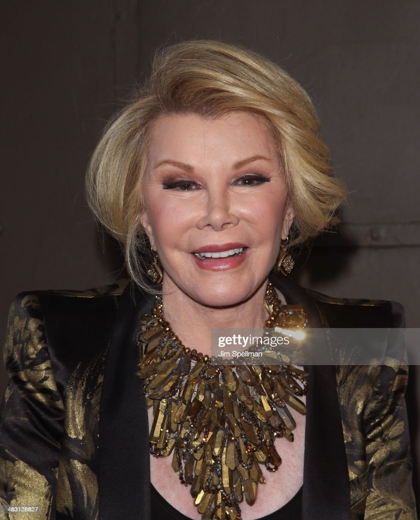 TV Personality <a gi-track='captionPersonalityLinkClicked' href=/galleries/search?phrase=Joan+Rivers&family=editorial&specificpeople=159403 ng-click='$event.stopPropagation()'>Joan Rivers</a> attends the Broadway opening night of 'The Realistic Joneses' at The Lyceum Theater on April 6, 2014 in New York City.