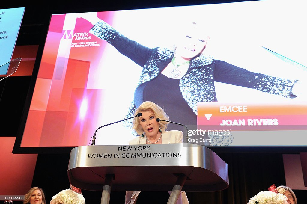 TV personality <a gi-track='captionPersonalityLinkClicked' href=/galleries/search?phrase=Joan+Rivers&family=editorial&specificpeople=159403 ng-click='$event.stopPropagation()'>Joan Rivers</a> attends the New York Women In Communications 2013 Matrix Awards on April 22, 2013 in New York City.