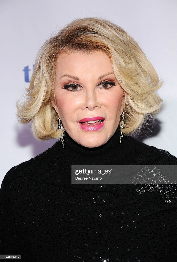 TV personality <a gi-track='captionPersonalityLinkClicked' href=/galleries/search?phrase=Joan+Rivers&family=editorial&specificpeople=159403 ng-click='$event.stopPropagation()'>Joan Rivers</a> attends Tie The Knot NYC at Avenue on February 27, 2013 in New York City.