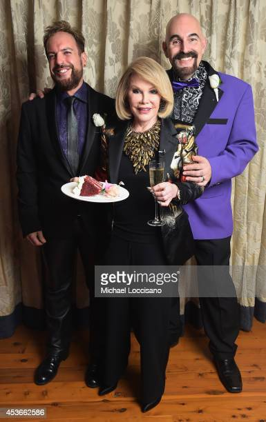 TV personality Joan Rivers officiates the gay wedding of William 'Jed' Ryan and Joseph Aiello at the Plaza Athenee on August 15 2014 in New York City