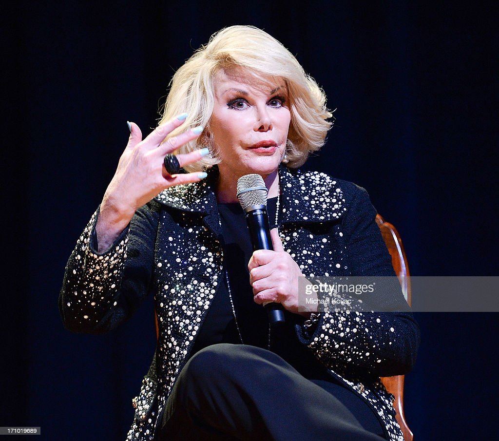 TV personality <a gi-track='captionPersonalityLinkClicked' href=/galleries/search?phrase=Joan+Rivers&family=editorial&specificpeople=159403 ng-click='$event.stopPropagation()'>Joan Rivers</a> performs onstage at An Evening With <a gi-track='captionPersonalityLinkClicked' href=/galleries/search?phrase=Joan+Rivers&family=editorial&specificpeople=159403 ng-click='$event.stopPropagation()'>Joan Rivers</a> at American Jewish University on June 20, 2013 in Los Angeles, California.