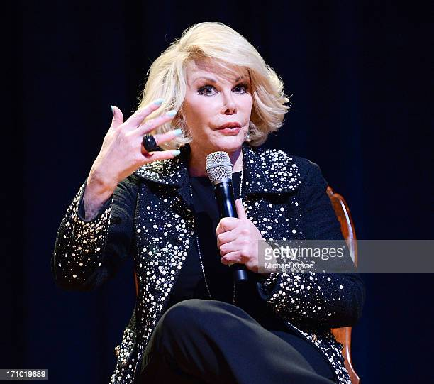 TV personality Joan Rivers performs onstage at An Evening With Joan Rivers at American Jewish University on June 20 2013 in Los Angeles California