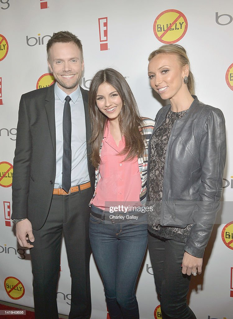 TV personality Joel McHale, actress Victoria Justice and TV personality Giuliana Rancic arrive at the Los Angeles Premiere of 'Bully' at Mann Chinese 6 on March 26, 2012 in Los Angeles, California.