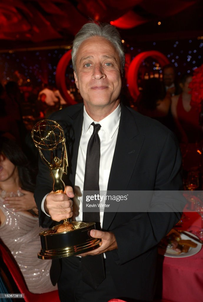 TV personality Jon Stewart attends the 64th Annual Primetime Emmy Awards Governors Ball at Nokia Theatre L.A. Live on September 23, 2012 in Los Angeles, California.