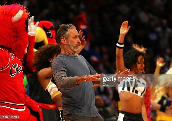 TV personality Jon Stewart dances on court in the Foot Locker ThreePoint Contest during NBA AllStar Weekend 2016 at Air Canada Centre on February 13...