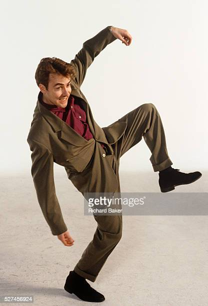 TV personality Jonathan Ross OBE dances his version of The Stonk in a Television studio in which celebrities from the entertainment industry...