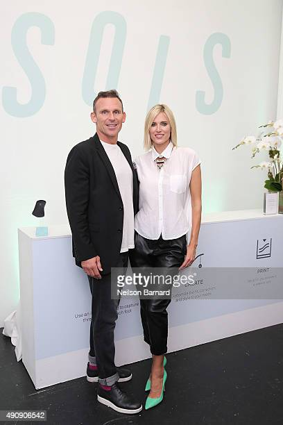 TV personality Josh Taekman and Kegan Schouwenburg SOLS Founder/CEO attend the SOLS launch party for the new SOLS Flex on October 1 2015 in New York...