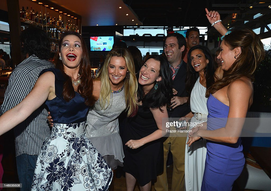 TV Personality Julia Allison, executive producer Ashley Tisdale, producers Jessica Rhoades and Tom Forman and TV personalities Emily Morse and Amy Laurent attend the season premiere viewing party of Bravo's 'Miss Advised' hosted by Executive Producer Ashley Tisdale held at Planet Dailies & Mixology 101 on June 18, 2012 in Los Angeles, California.