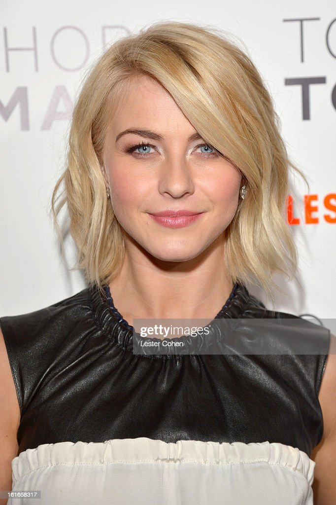 TV personality <a gi-track='captionPersonalityLinkClicked' href=/galleries/search?phrase=Julianne+Hough&family=editorial&specificpeople=4237560 ng-click='$event.stopPropagation()'>Julianne Hough</a> arrives at the Topshop Topman LA Opening Party at Cecconi's West Hollywood on February 13, 2013 in Los Angeles, California.