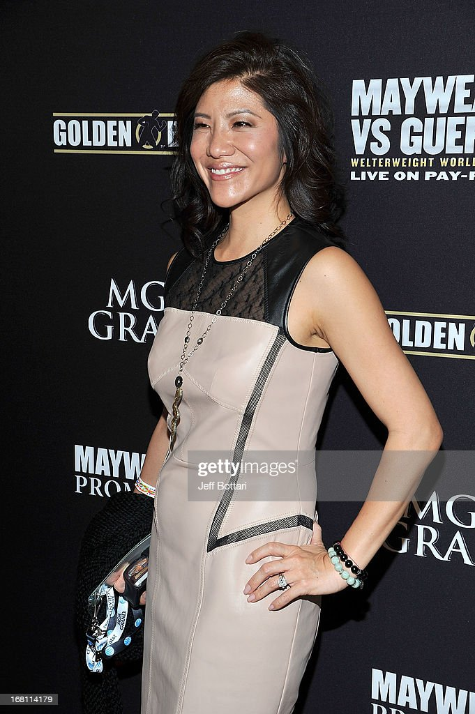 TV personality Julie Chen arrives at a VIP pre-fight party at the WBC welterweight title fight between Floyd Mayweather Jr. and Robert Guerrero at the MGM Grand Hotel/Casino on May 4, 2013 in Las Vegas, Nevada.