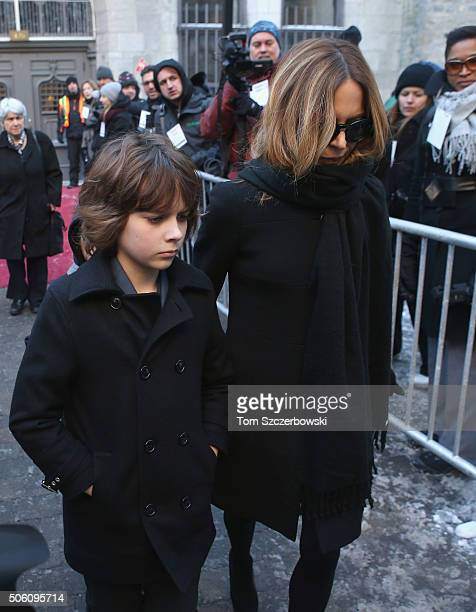 TV personality Julie Snyder and Thomas PeladeauSnyder attend the Public Memorial Service for Celine Dion's Husband Rene Angelil at NotreDame Basilica...