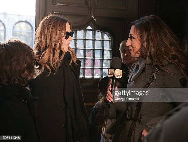 TV personality Julie Snyder attends the public memorial service for Celine Dion's husband Rene Angelil at NotreDame Basilica on January 21 2016 in...