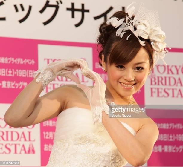 TV personality Jun Natsukawa attends the Tokyo Bridal Festa 2010 at Tokyo Big Sight on December 18 2010 in Tokyo Japan