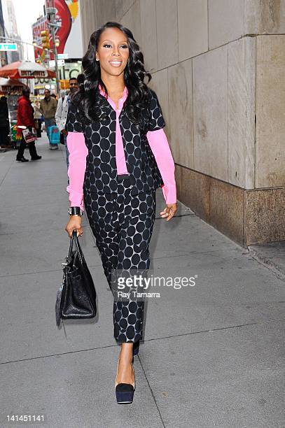 TV personality June Ambrose leaves a Midtown Manhattan office building on March 16 2012 in New York City