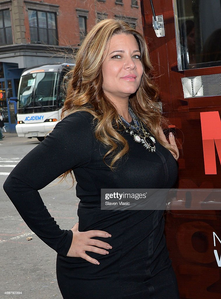 TV personality Karen Gravano of 'Mob Wives' visits the 'Mob Wives' Meatball Truck at Times Square on December 1 2014 in New York City