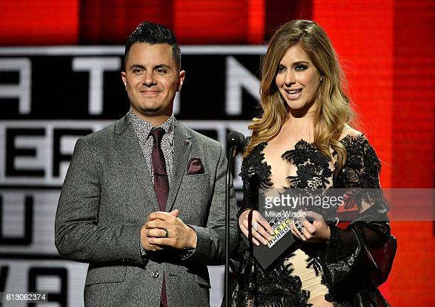 TV personality Karim Mendiburu and actress Carmen Aub speak onstage during the 2016 Latin American Music Awards at Dolby Theatre on October 6 2016 in...