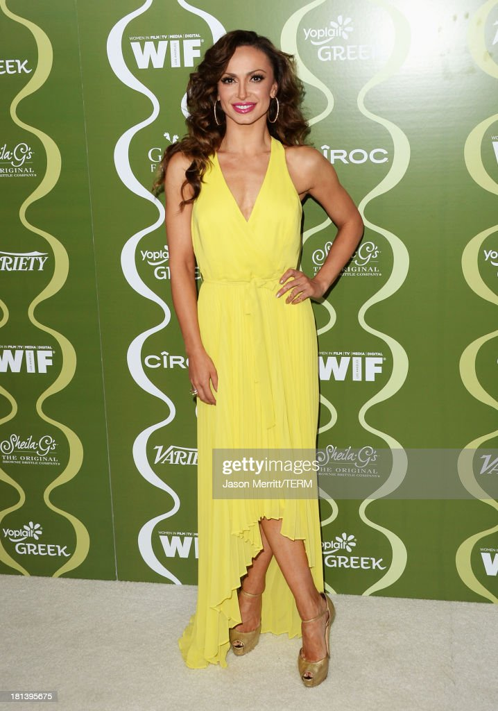 TV personality <a gi-track='captionPersonalityLinkClicked' href=/galleries/search?phrase=Karina+Smirnoff&family=editorial&specificpeople=4029232 ng-click='$event.stopPropagation()'>Karina Smirnoff</a> attends Variety & Women In Film Pre-Emmy Event presented by Yoplait Greek at Scarpetta on September 20, 2013 in Beverly Hills, California.