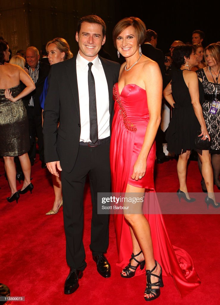 TV personality Karl Stefanovic and his wife Cassandra Thorburn arrive on the red carpet ahead of the 2011 Logie Awards at Crown Palladium on May 1, 2011 in Melbourne, Australia.