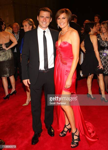 TV personality Karl Stefanovic and his wife Cassandra Thorburn arrive on the red carpet ahead of the 2011 Logie Awards at Crown Palladium on May 1...