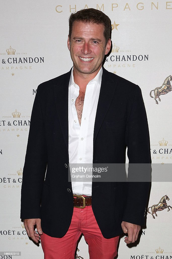 TV personality Karl Stefanovic poses at the Moet & Chandon Derby Eve party held at The Waiting Room, Crown Towers on November 1, 2013 in Melbourne, Australia.