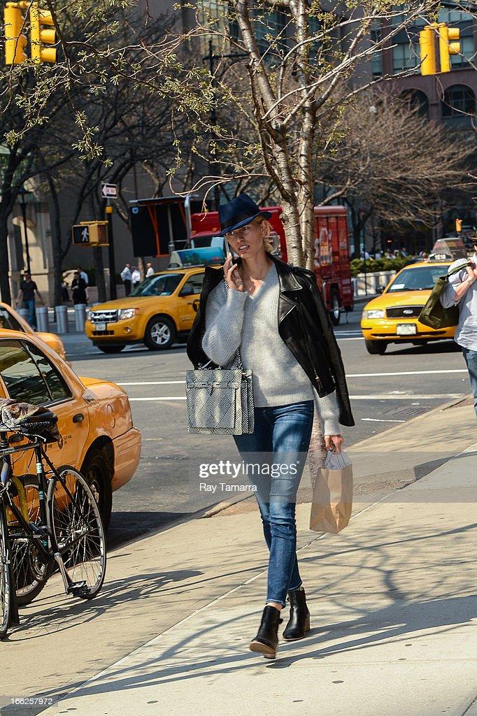 TV personality Karolina Kurkova walks in Tribeca on April 10, 2013 in New York City.