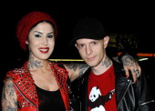 Personality Kat Von D and DJ Deadmau5 aka Joel Thomas Zimmerman attend Opening Night Of 'Skulls' A Collective Show At Kat Von D's Wonderland Gallery...