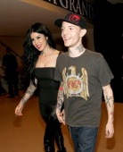 TV personality Kat Von D and recording artist Joel Zimmerman aka Deadmau5 walk backstage during the 2012 iHeartRadio Music Festival at the MGM Grand...
