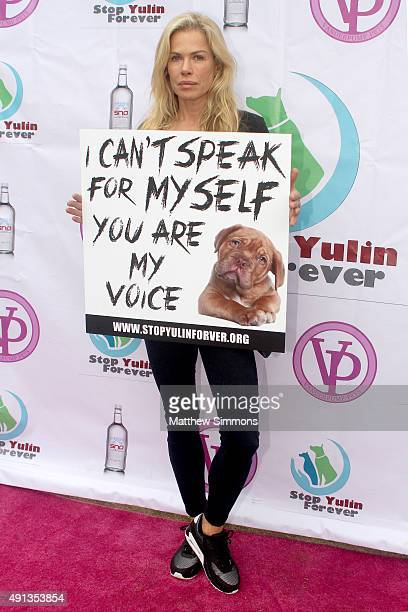 TV personality Kathryn Edwards attends the StopYulinForever march to end dog cruelty in Yulin China at MaCarthur Park Recreation Center on October 4...