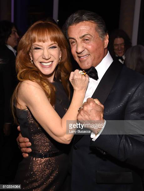 TV personality Kathy Griffin and actor Sylvester Stallone attend the 2016 PreGRAMMY Gala and Salute to Industry Icons honoring Irving Azoff at The...