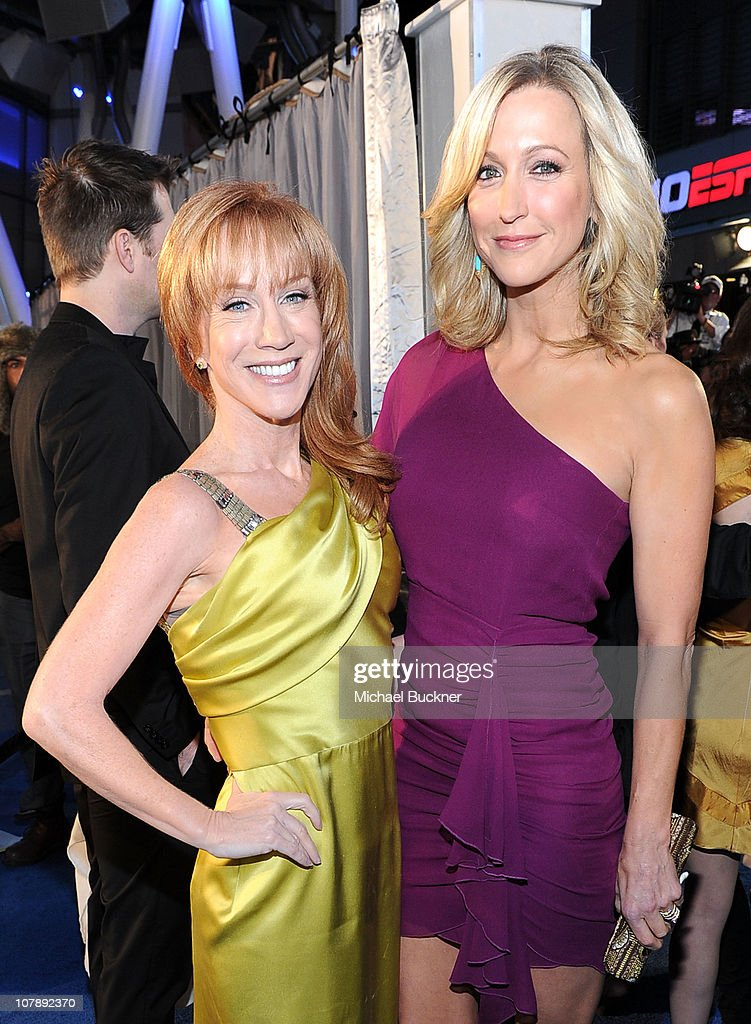 TV personality <a gi-track='captionPersonalityLinkClicked' href=/galleries/search?phrase=Kathy+Griffin&family=editorial&specificpeople=203161 ng-click='$event.stopPropagation()'>Kathy Griffin</a> (L) and TV host <a gi-track='captionPersonalityLinkClicked' href=/galleries/search?phrase=Lara+Spencer+-+Journalist&family=editorial&specificpeople=240321 ng-click='$event.stopPropagation()'>Lara Spencer</a> arrive at the 2011 People's Choice Awards at Nokia Theatre L.A. Live on January 5, 2011 in Los Angeles, California.