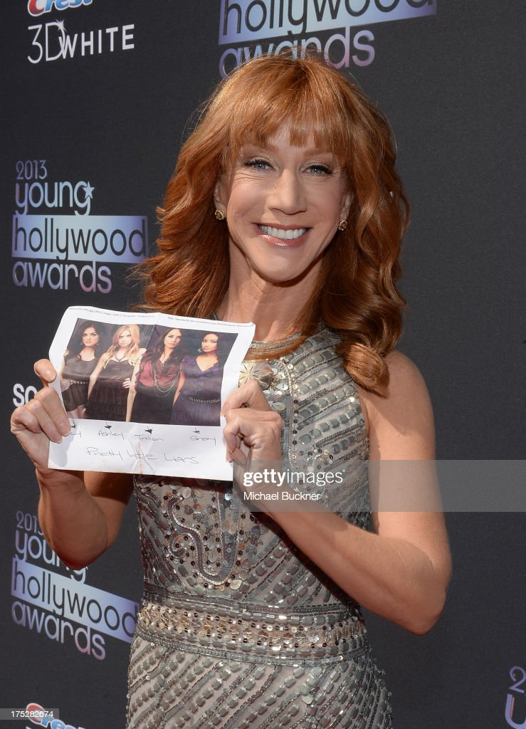 TV personality <a gi-track='captionPersonalityLinkClicked' href=/galleries/search?phrase=Kathy+Griffin&family=editorial&specificpeople=203161 ng-click='$event.stopPropagation()'>Kathy Griffin</a> attends CW Network's 2013 2013 Young Hollywood Awards presented by Crest 3D White and SodaStream held at The Broad Stage on August 1, 2013 in Santa Monica, California.